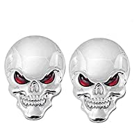 EQLEF® 2 Pieces 3D Skull Zinc Alloy Metal Car Motorcycle Sticker Skull Emblem Badge Car Styling Stickers Accessories - 2 pack