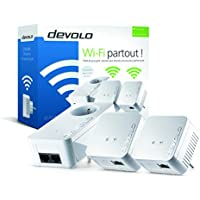 Devolo - 9639 - Kit Réseau CPL WiFi dLAN 550 (Connexion Internet 500 Mbit/s via la Prise de Courant, 300 Mbit/s via le Réseau WiFi, 1 Port Ethernet, 3 Adaptateurs CPL, Amplificateur WiFi, WiFi Move) Blanc