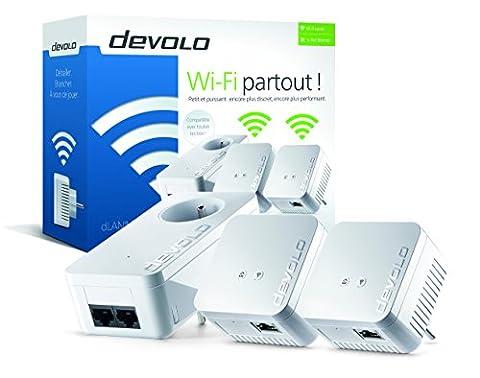 devolo Kit réseau CPL WiFi dLAN 550 (connexion Internet 500 Mbit/s via la prise de courant, 300 Mbit/s via le réseau WiFi, 1 port Ethernet, 3 adaptateurs CPL, amplificateur WiFi, WiFi Move) blanc