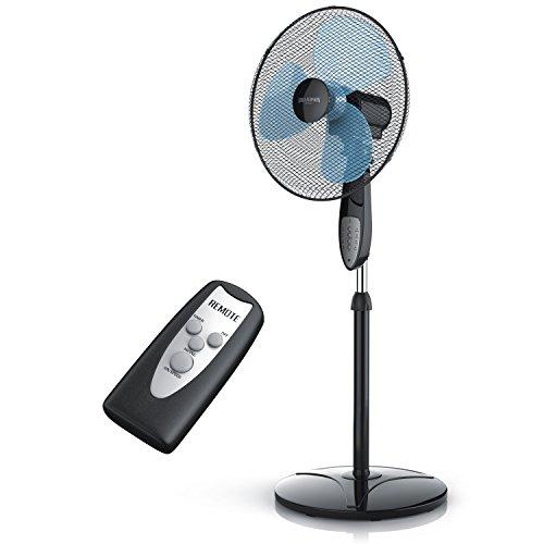 Brandson - ventilatore a piantana con telecomando | 40cm | oscillazione 80° | 3-livelli di potenza | 50w | elevato flusso d'aria | rumore di funzionamento piacevole | nero/blu