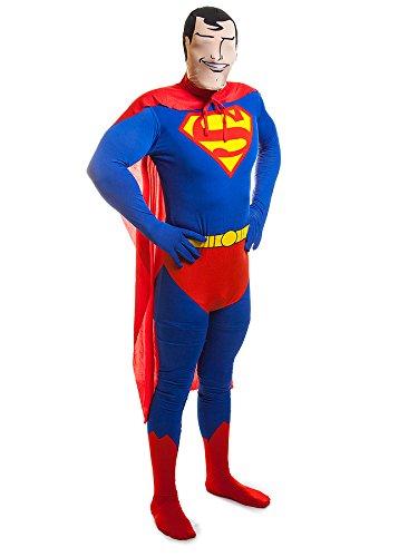 rman Jumpsuit (Blue/Red/Yellow) (Superman Halloween Kostüm Für Männer)