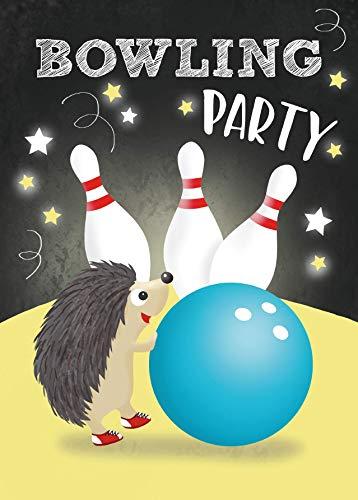 Bowling Einladungskarten Kindergeburtstag Bowlingparty Geburtstag Lustig Party Einladung Geburtstagseinladung Kinder - Set zu 10 Stück - Illustration - 14,8 x 10,5 cm Postkartenformat