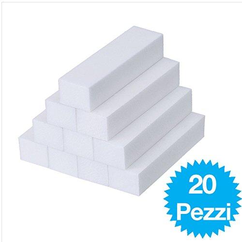 20 Pezzi Bianco Mattoncini di Levigatura Lime Grinta di Manicure Strumento per Nail Art Punti