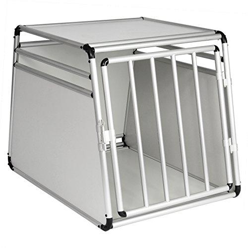 Woltu ht2070wsm1 gabbia animali auto casse box per viaggio in alluminio e mdf trasportino per cane conigli parete smontabile bianco 65x90x69cm