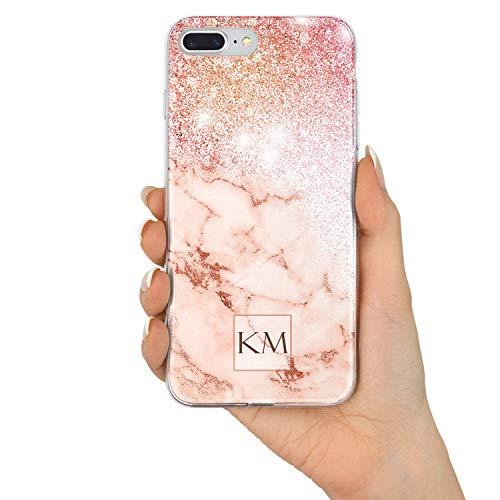 TULLUN Rose Gold Marmor & Glitter Effekt Personalisiert Name Initialen Monogramm Text Brauch Custom Schutzhülle aus Hartplastik Handy Hülle für iPhone - Design V3 - für iPhone 7/8 V3 Glitter