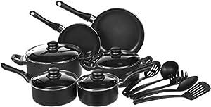+ comida a domicilio: AmazonBasics - Juego de utensilios de cocina antiadherentes, 15 piezas