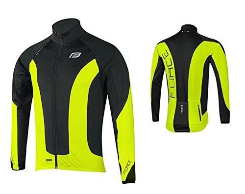 Force Herren Thermo Fahrradjacke, Winter Fahrradjacke, verschiedene Farben (schwarz/neongelb, XXL)