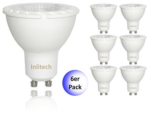 inlitech lampadina a LED GU10, confezione da 6, 3W sostituisce 35W, bianco caldo (3000K), 240lm, LED PAR16, angolo del fascio di luce: 38°, 0602561130976