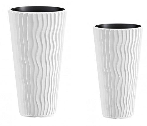 Kreher Pflanztopf Set Wave: 1 XXL (39 x 71) und 1 XL (30 x 60) cm Kübel mit herausnehmbarem Einsatz. In moderner Wellen Optik, in Weiß. UV- und frostbeständig.