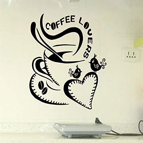 ljradj Cuore Coffee Cup Big Love Rimovibile Wall Stickers for Fashion Living Room Nursery Cucina per Bambini Vinyl Decals Murales Bianco 42X45cm