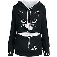Damen Langarm Tunika Sweatshirt Tops mit Känguru-Tasche Katze Hund Print Jumper mit Kapuze Pullover Tops Bluse S-2XL