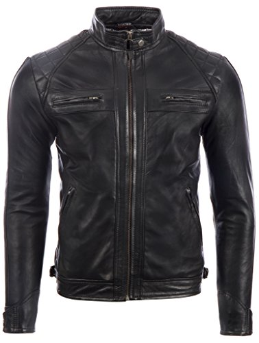 Aviatrix Men's Real Leather Crosshatch Shoulder Detail Fashion Jacket (44T9) M