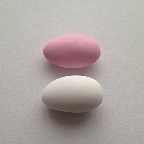 Hochzeitsmandeln 1 kg weiß/rosa gemischt (für mind 65 Gäste, 0,17 EUR/G) - Gastgeschenke Hochzeit Bonboniere Give Aways Zuckermandeln - griechische Koufeta für italienische Confetti französische Dragees, Farbe:matt - weiß & rosa