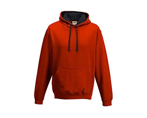 Varsity sweat-shirt à capuche à capuche pull-over à capuche unisexe coloré - Fire Red Jet Black