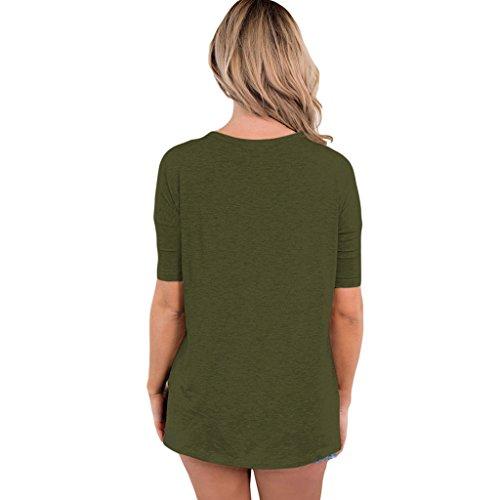 MagiDeal Frauen Choker Hals Kurzarm Casual Sommer T-Shirt Loose Fit Top Grün