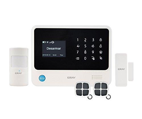 ERAY S2 Alarmas para Casa WIFI + GSM/3G, Antirrobo, Inalámbrico, App Gratuita, Servicio + Garantía, 100 Zonas, Multi-Accesorios y Pilas Incluidas, Voz y LCD Pantalla en Castellano, 433MHz