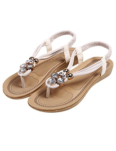 cooshional Damen Sandalen lässig Peep Toe Flach Sommer Schuhe Beige