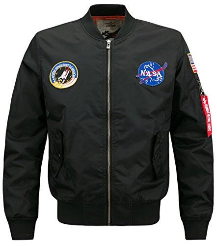 YYZYY Homme Classique Style rétro patches Flight Jacket Veste Bomber Pilot vol Flying Blousons Black
