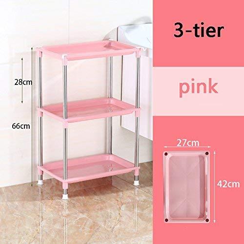 JZX Stand-Waschbecken im Badezimmer, Schließfach aus Kunststoff,3-stufig,Rosa (Badezimmer Standwaschbecken)