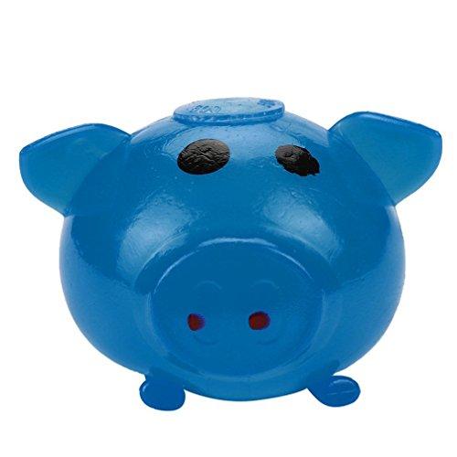 Jaminy 1 Stück Anti-stress Splat Ball Vent Spielzeug Smash Verschiedene Stile Schwein Spielzeug (Blau)