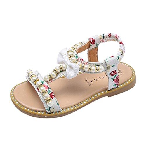 mmerschuhe Römisch Lauflernschuhe,Perle Offene Bowknot Kinderschuhe Schuhe Blumendruck Strandschuhe Mode Shoes Mädchen Freizeitschuhe (30, Weiß) ()
