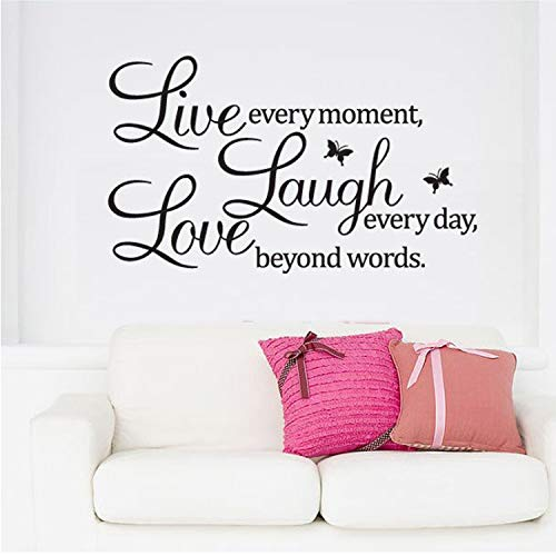 Asade Live Laugh Love Quotes Wall Decals Home Decorations Removable DIY Wall Stickers
