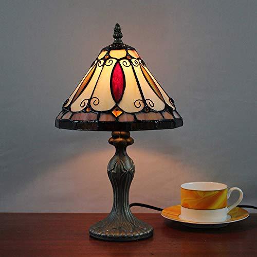 Bronze Tiffany Tischlampe (8-Zoll-kreative Buntglas Pastoral Retro antiken Tischlampe Nachttischlampe Schreibtischlampe für Wohnzimmer Schlafzimmer)