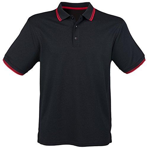 Henbury Short Sleeve Coolplus Polo Shirt Black/ Red