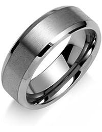 cd9a2017ca0b Bling Jewelry Mate Pulido Centro Unisex Anillo de tungsteno de 8mm con  grabado