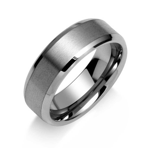 Bling Jewelry Gift Brushed Matte Center Unisex Tungsten Ring 8mm