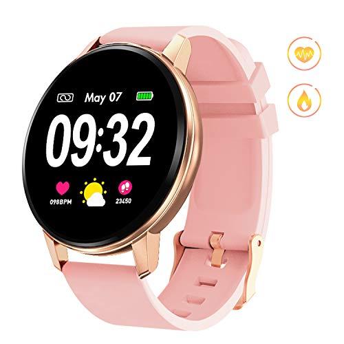 GOKOO Montre Connectée Femmes Smartwatch Femme Bluetooth Montre Sport Écran Tactile Montre Intelligente Cardiofréquencemètre Podomètre Calorie Tracker d'Activité Compatible avec Android iOS (Rose)