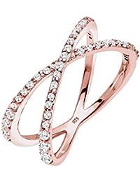 Elli Damen-Ring Geo Trend 925 Silber weiß Brillantschliff Zirkonia - 0602790516