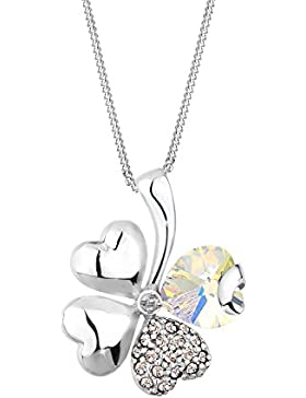 Elli Damen-Kette mit Anhänger Kleeblatt, Herz 925 Sterling Silber Swarovski Kristall Brillantschliff