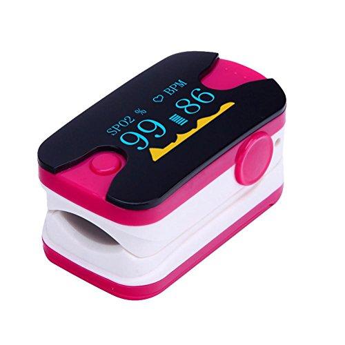 LED Finger Clip Sauerstoff Meter Finger Pulse Sauerstoffsättigung Überwachung Monitor Herzfrequenz Messgerät für Home Health Care (Mehrfarbig optional), rosarot