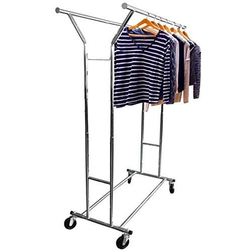HLC 128-188*55*145-171CM Verstellbarer Fahrbarer Klappbar Kleiderständer Kleiderstange Garderobenständer( Zwei verstellbare Stange)