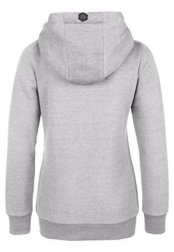 SUBLEVEL Sweatjacke mit Zipper & Kapuze | Cooler Damen Hoodie - schräger Reißverschluss, Uni-farben Grey