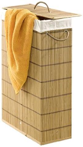 WENKO 7879500 Wäschetonne Lückenfüller - extra schmal, Bambus, 39 x 60 x 18.5 cm, Braun