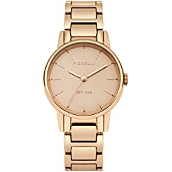 Fiorelli Women's Quartz Watch with Rose Gold Dial Analogue Display and Rose Gold Alloy Bracelet FO028RGM