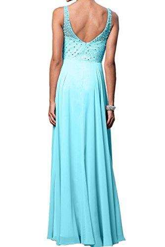 TOSKANA BRAUT Elegant Neu Damen Perlen Traeger Blau Abendkleider Bodenlang Partykleider Promkleider Lavender