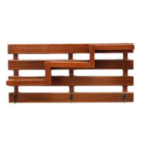 WINOMO Retro Holzwand Regal mit 3 Schlüssel Haken 3-Tier Board Leiter Hängeregal Regale Garderoben Bücherregale für Flur Büro Küche (braun) 3-tier-bücherregal-regal