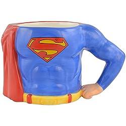 Superman 01221523D Taza de café zollsuperman' s Body, Aprox. 350ML, cerámica, Azul, 12,5x 7,5x 7,7cm