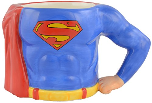 "Superman 0122152 3D Kaffee Tasse ZollSuperman`s Body"", circa 350 ml, Keramik, blau, 12,5 x 7,5 x 7,7 cm"