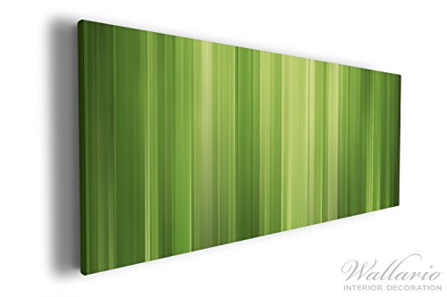 Wallario XXL Wallario Leinwandbild Grün und schwarz gestreift - Abstraktes Streifenmuster - 60 x...