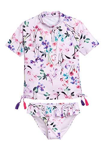 next Mädchen 2 Teiliges Sonnenschutz Set Lila Blumen 5 Jahre - Getrimmt Rock Anzug