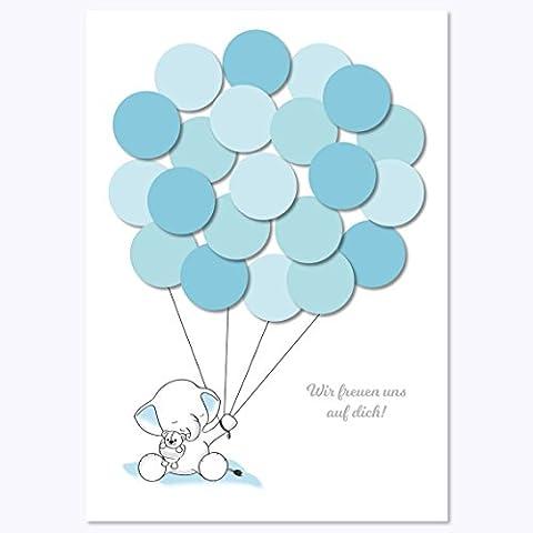Babyparty Geschenk, Baby Shower Gastgeschenk, Deko, Baby Andenken, Idee, Glückwünsche, Fingerabdruck, Erinnerungsstück, Elefant, junge, blau von Mia-Félice Decorations