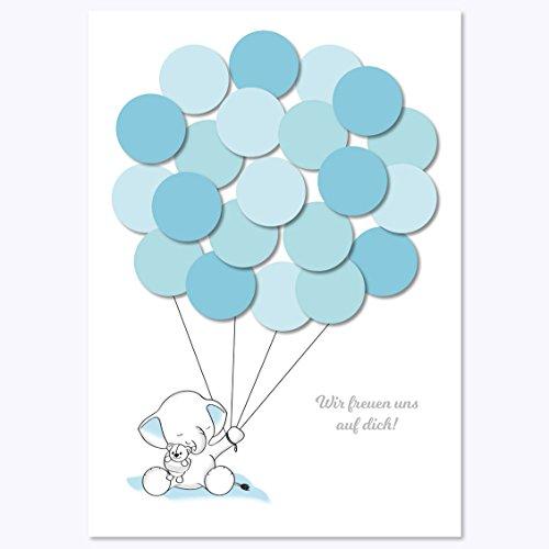 (Babyparty Geschenk, Baby Shower Gastgeschenk, Deko, Baby Andenken, Idee, Glückwünsche, Fingerabdruck, Erinnerungsstück, Elefant, junge, blau)