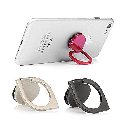 Mavis 's Diary 2Pcs Marmor Muster-Universal 360¡Drehbar Handy Metall Schnalle Tablet Finger Grip Ring Ständer Halter Ständer für Alle Handys Tablets-Schwarz & Weiß, Black & Sliver