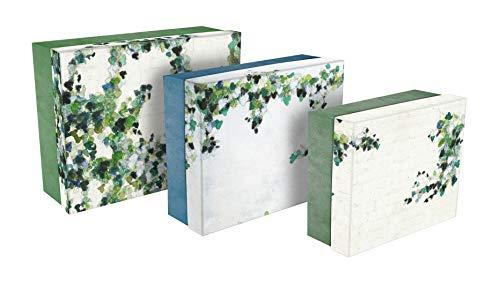 Clairefontaine 115526C - Un lot de 3 boites gigognes rectangulaires hedera (44 x 34 cm, 38 x 31 cm et 32 x 26 cm), motifs assortis