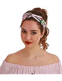 La Modeuse Headbandcroisé sur le devant à rayures noires imprimé flamants roses et motifs tropicaux