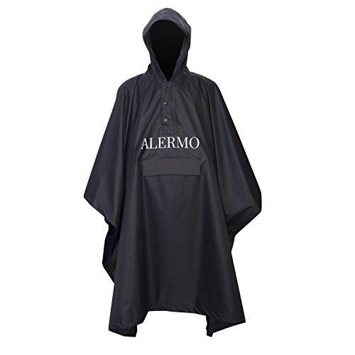 Alermo Premium Regenponcho mit Verstellbarer Kapuze - inkl. Extra Tasche zur Aufbewahrung - Wasserabweisender Fahrrad Regenmantel für Damen und Herren